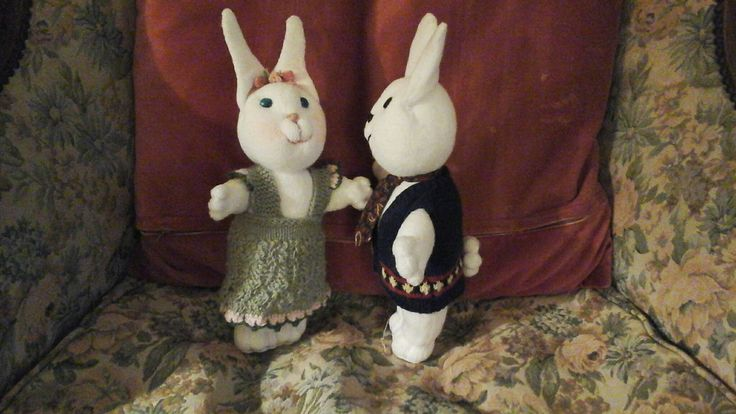 Bunnies made of socks, knitted dress and waistcoat