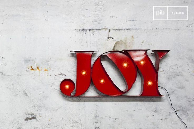 El letrero neón Joy es un accesorio moderno y práctico.