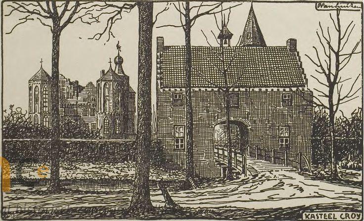 Aarle-Rixtel. Kasteel Croy met toegangspoort. Tekening van P. Panhuizen, ca. 1919