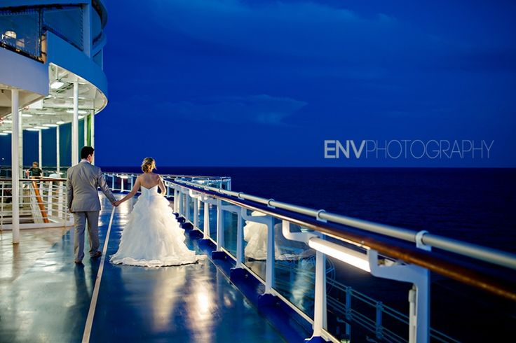 princess cruise destination wedding photography on ship at night