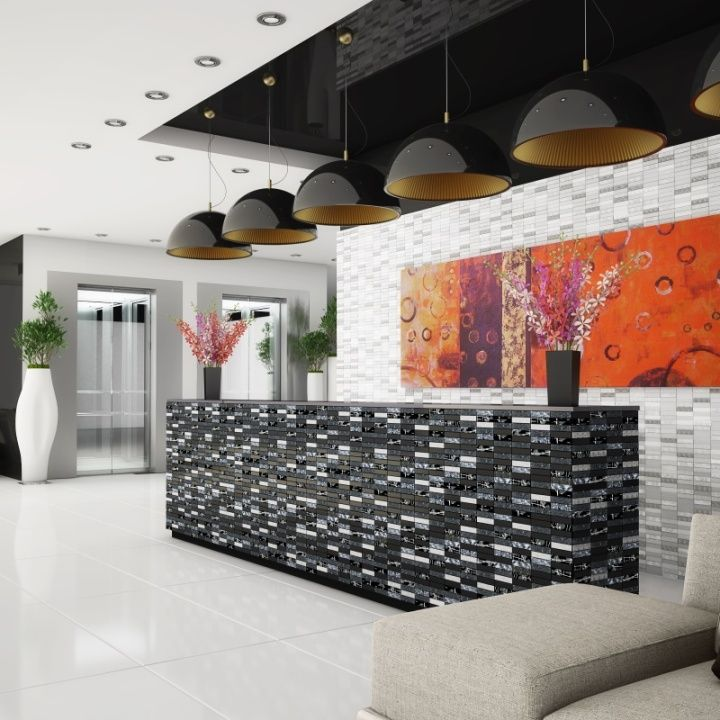 Stunning grey silver and black mosaic tiles