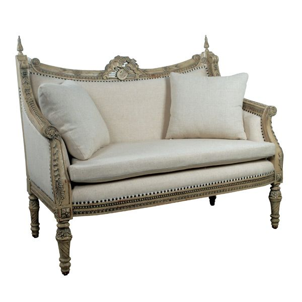 Antique Sofa Loveseat: Sofa Love Seat French Solid Hand Carved Mahogany Linen