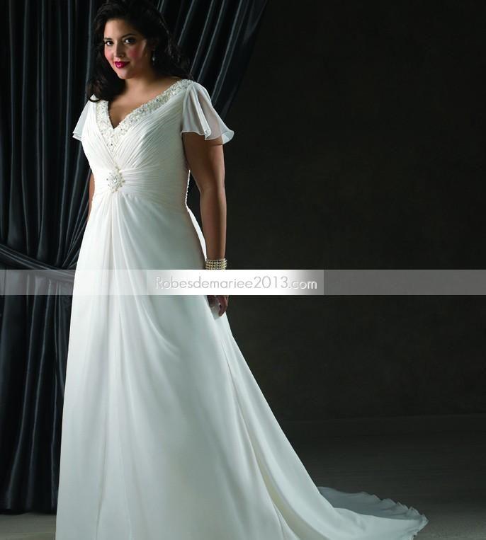 ... Manches courtes Longueur sol Perlage Robe de mariée grande taille