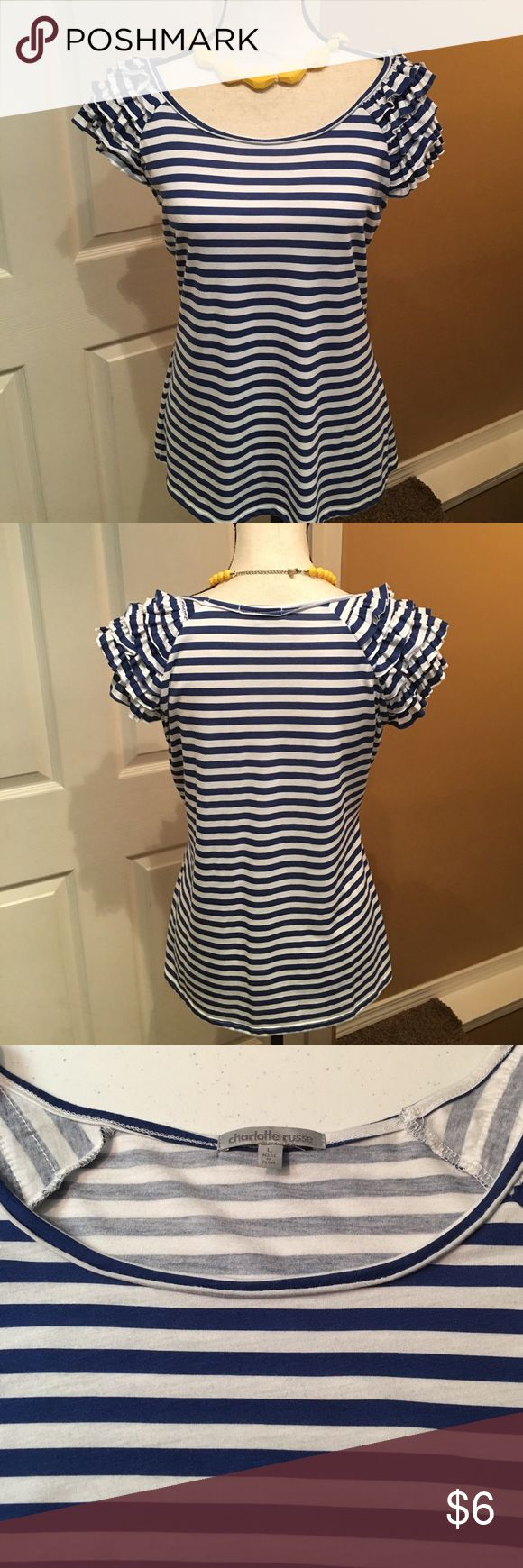 Blue and White Striped Tee with Ruffle Sleeves Cute blue and white tee perfect for Summer!  Gently worn, very good condition! (Necklace not included.) Charlotte Russe Tops Tees - Short Sleeve
