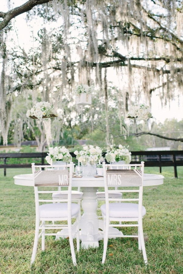 Bride and Groom Table, White Wedding Decoration and Table