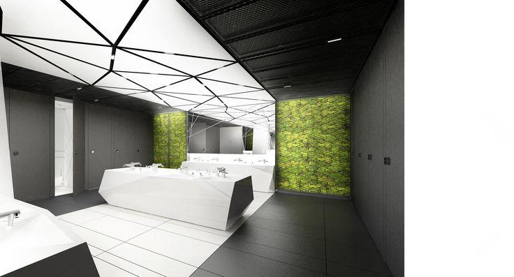 Design of the interior for public toilets and corridors in SC Złote Tarasy, stage 02. #geometric #minimal #zlotetarasy #architecture #design #interiors #art #light #plants #moss