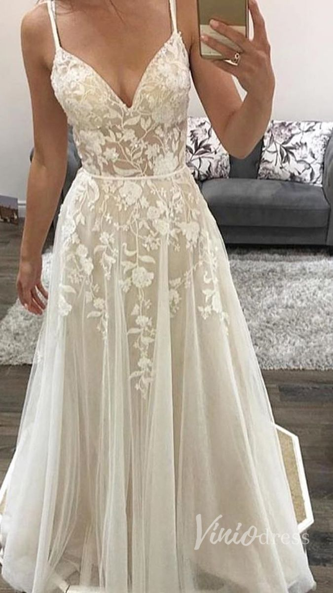 Spaghetti Strap Lace Beach Wedding Dresses Champagne Vw1196 Lace Beach Wedding Dress Wedding Dresses Lace Wedding Dress Champagne [ 1200 x 675 Pixel ]