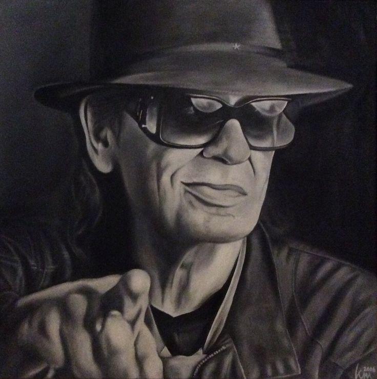 Oil painting of Udo Lindenberg, 50 x 50 cm, 2016 Mirjam Kämmerer