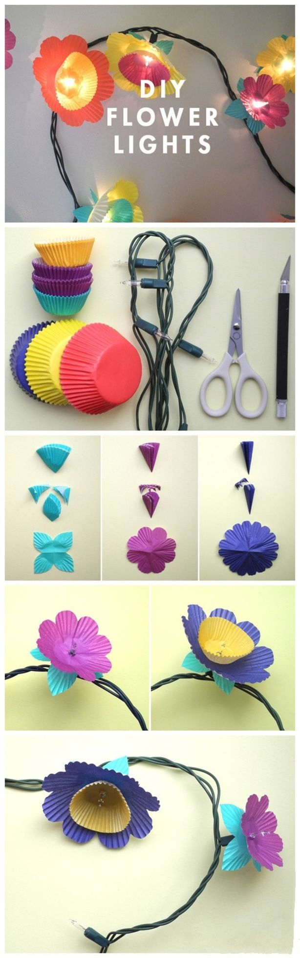 "cupcake papers to create flowers over ""fairy"" white christmas light strands for garden party"