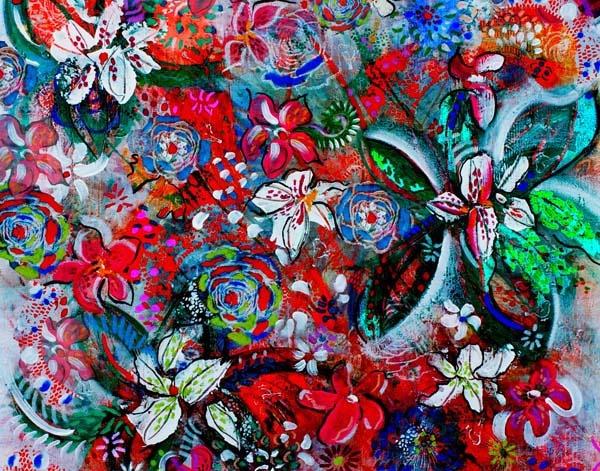 Floral Spring  original artwork by Regan O'Neill and kaftan summer print.