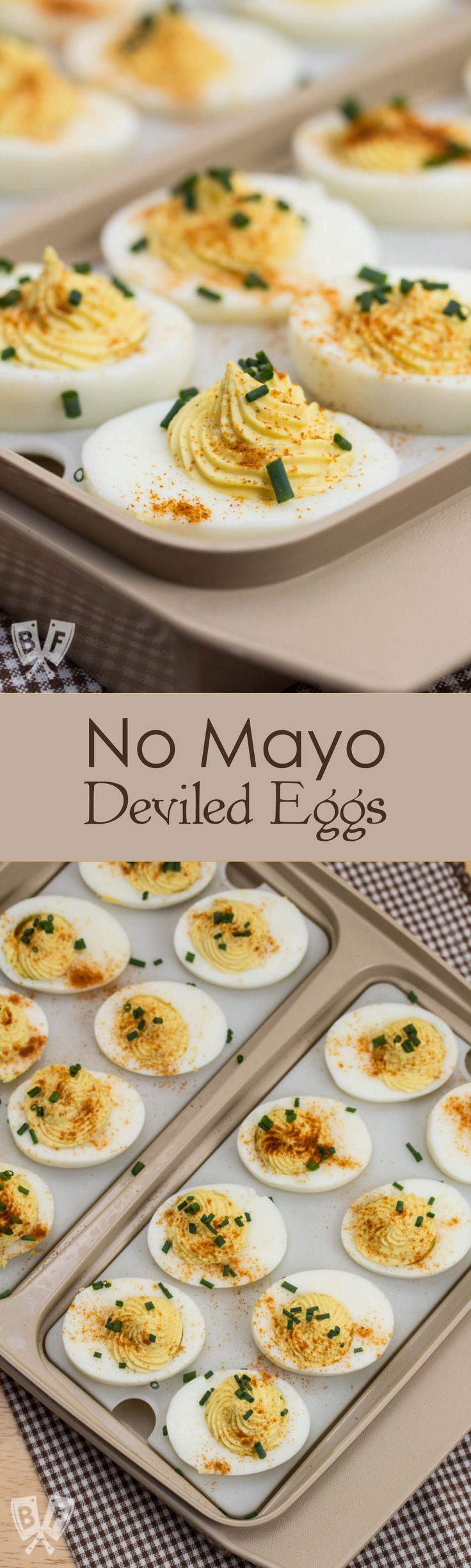 No Mayo Deviled Eggs: Skip the mayo in this appetizer favorite - guaranteed to be a hit at any party!