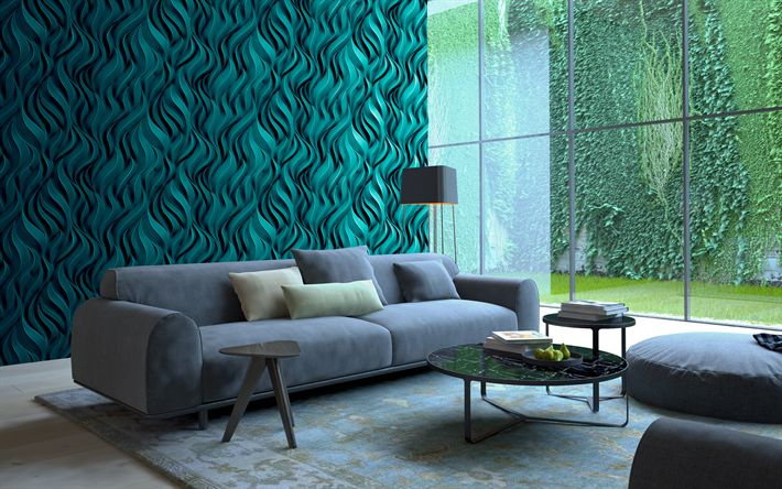 Download wallpapers living room, 4k, green interior, modern apartment, 3d panel, sofa, modern design, interior idea