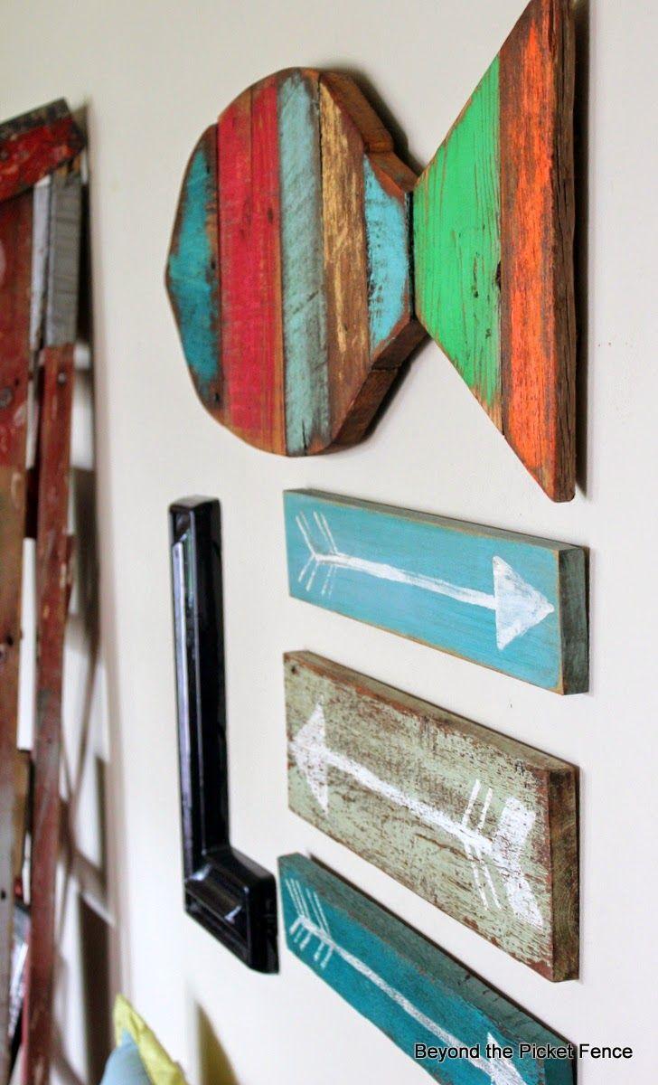 reclaimed salvaged scrap wood fish art