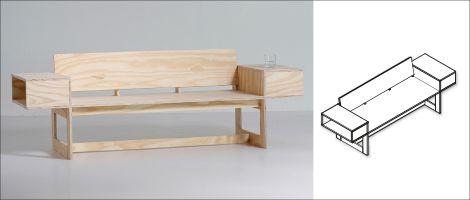Goed idee: een bank voor twee met handige vakkenkastjes. Maak 'm eenvoudig zelf met de werktekening van KARWEI.