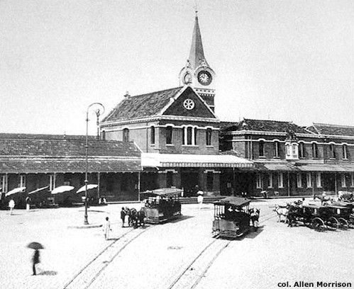 Estação - bondes puxado a burros 1900