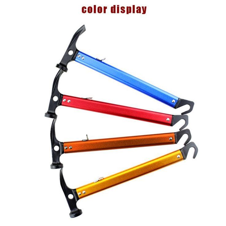 Ultra-light Aluminum Multifunction Camping Tent Peg Nail Hammer Outdoor Hiking Tent Mallet Camp Accessories With Hook