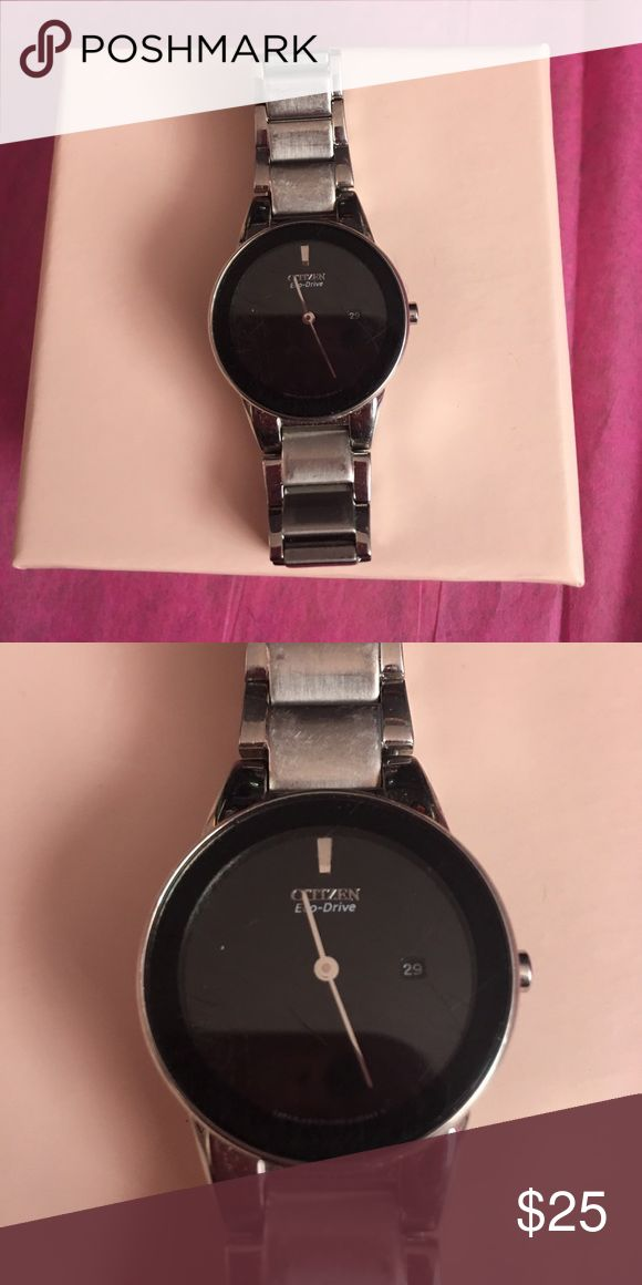 Woman's small Citizen Watch! Eco Drive This item shows a lot of wear! It will also need a replacement battery! The scratches can be buffed out! The battery will cost about $6! Ask and offer away Citizen Jewelry