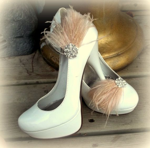 Bridal Feathered Shoe Clips set of 2 Sparkling by ShoeClipsOnly