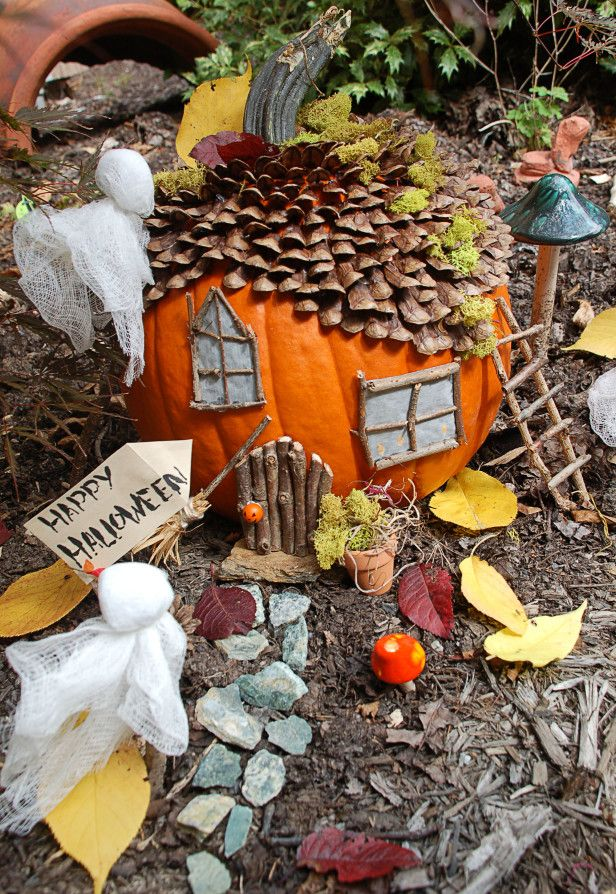 Create a Haunted Pumpkin House for your Fairy Garden >> http://www.hgtvgardens.com/crafts/make-a-haunted-pumpkin-fairy-garden?soc=pinterest