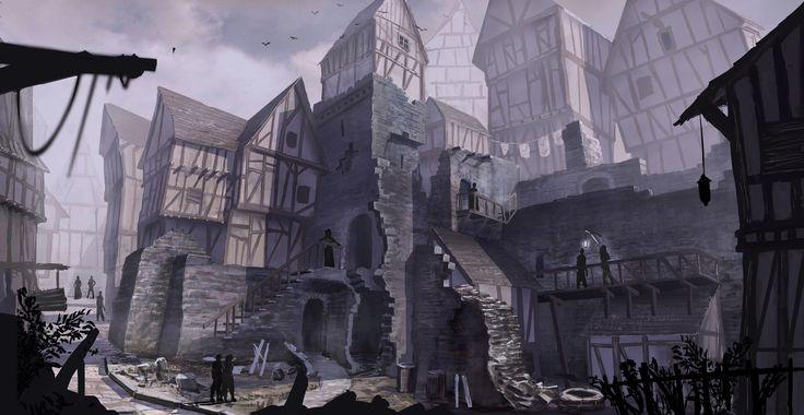 medieval slum slums fantasy stacher building ruedy deviantart artstation tweet