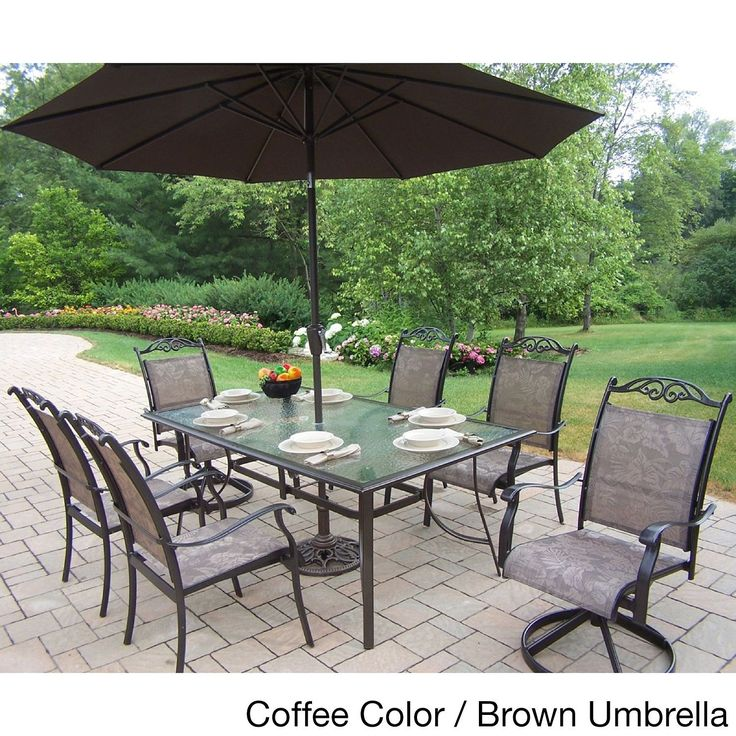 Oakland Living Corporation Aluminum Sling 9 Piece Dining Set With Umbrella  (Black), Beige, Size 9 Piece Sets, Patio Furniture