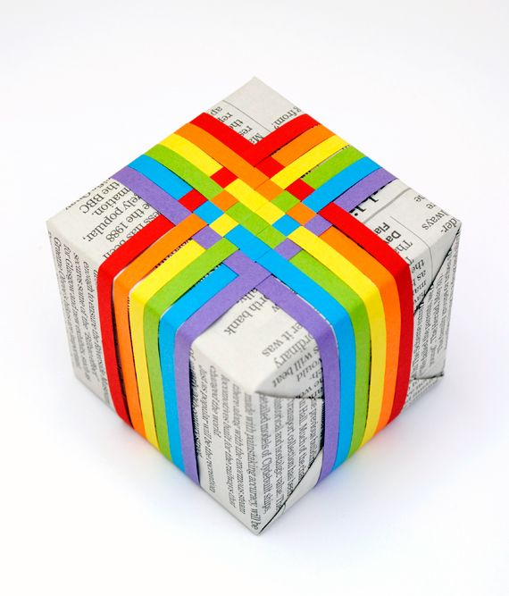 Here's a simple way to dress up plain newspaper as gift wrap: check out this woven paper ribbon how-to on Mini-eco. Switch from rainbow colors to your dad's favorites, and you have a cool Father's Day wrap.