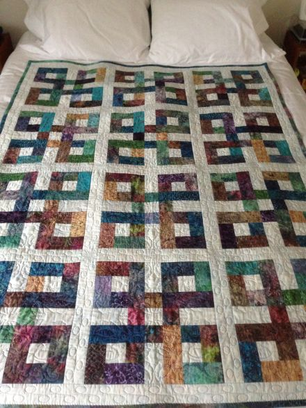 Celtic Knots quilt - used a jelly roll of batiks for the quilt.