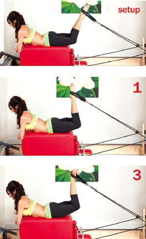 Lisa Hubbard  demonatrating great glute exercises on the pilates reformer