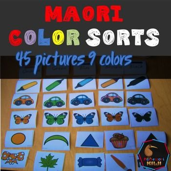 Te Reo Maori: A range of objects for preschoolers or junior primary mainstream or immersion students to sort and group together by colour. 5 objects in each color. NO ENGLISH VOCABULARY Colours : Red, White, Yellow, Green, Blue, Black , Brown, Pink, Orange