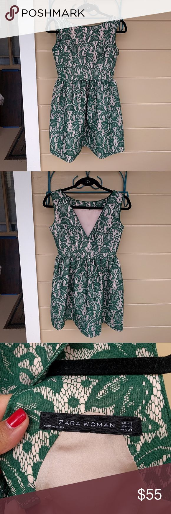 Zara Green tea dress Textured green lace-like design over beige background.  Side zipper. Fully lined. Excellent condition. Zara Dresses Mini