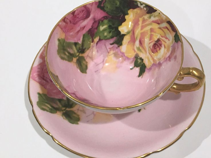 Large Rose Stanley Tea Cup and Saucer, Pink Rose Tea Cups, English Bone China…