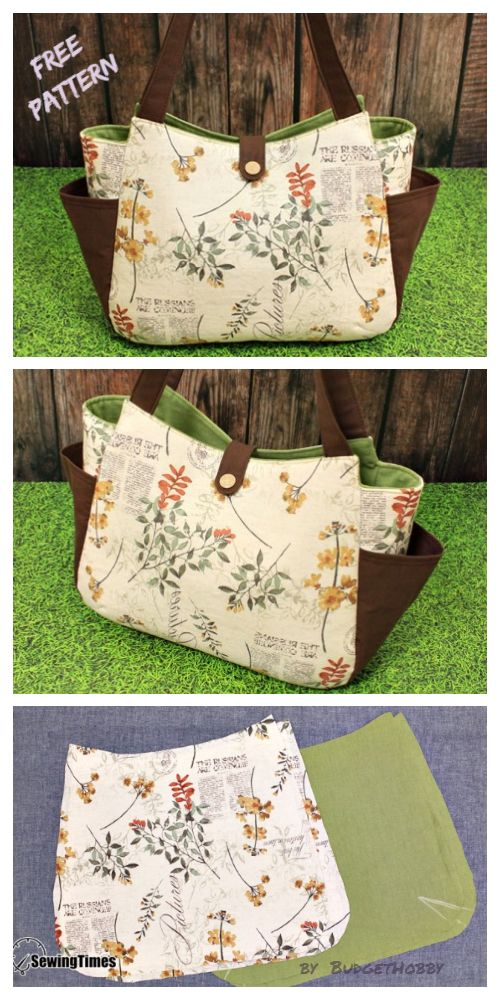 DIY Large Tote Bag with Side Pocket Free Sewing Pa…