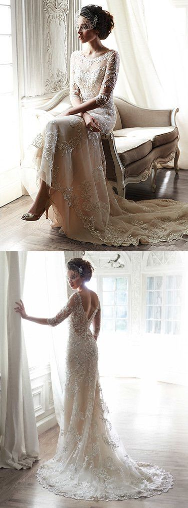 Vintage wedding Dress,2016 Lace bridal gowns,Elegant lace Long train Wedding dress
