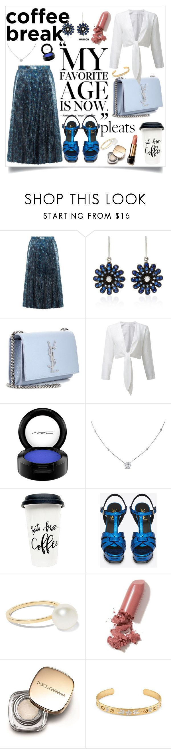 """""""Coffee break and Pleats!"""" by sarah-alam ❤ liked on Polyvore featuring Prada, Nam Cho, Yves Saint Laurent, MAC Cosmetics, Ice, Sophie Bille Brahe, LAQA & Co., Lancôme, Dolce&Gabbana and Gucci"""