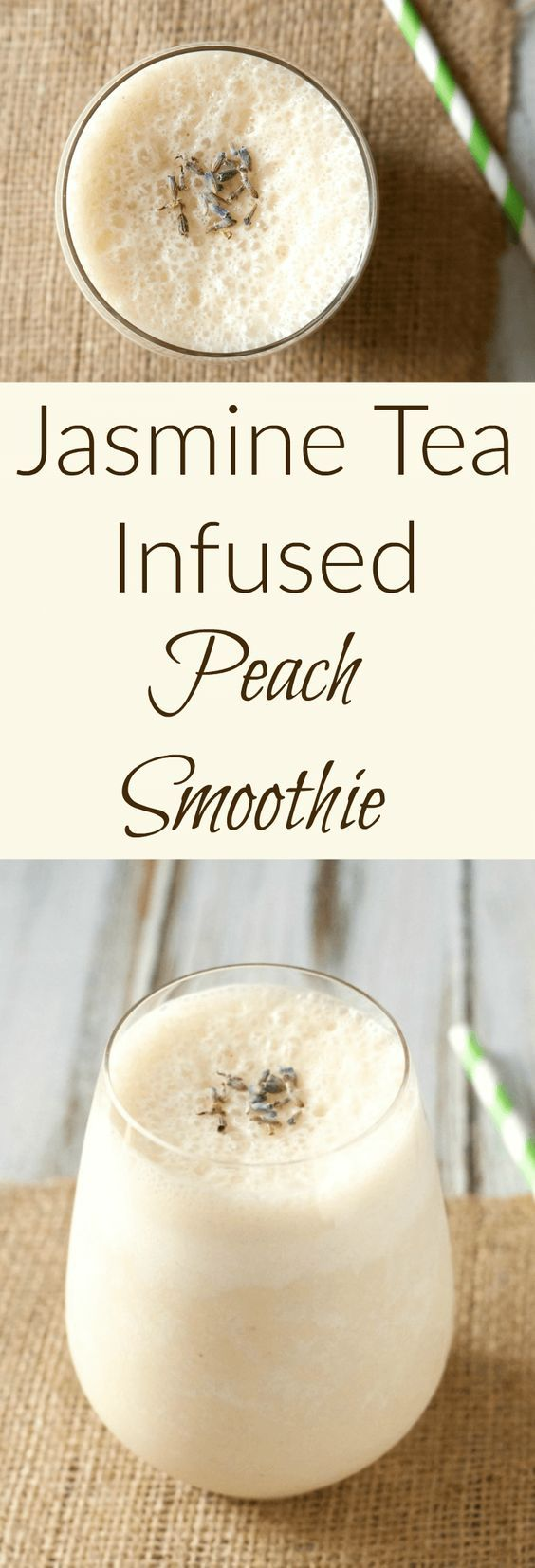 A tangy, frothy kefir-based peach smoothie infused with jasmine tea for Tea Ifused Smoothie Week at Mid-Life Croissant.