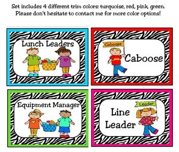 Classroom Leaders Job Cards Zebra PrintJob Cards, Zebras Classroom, Classroom Decor, Cards Zebras, Classroom Leader, Leader Job, Zebras Prints, Printables Cards, Kindergarten Klub Com