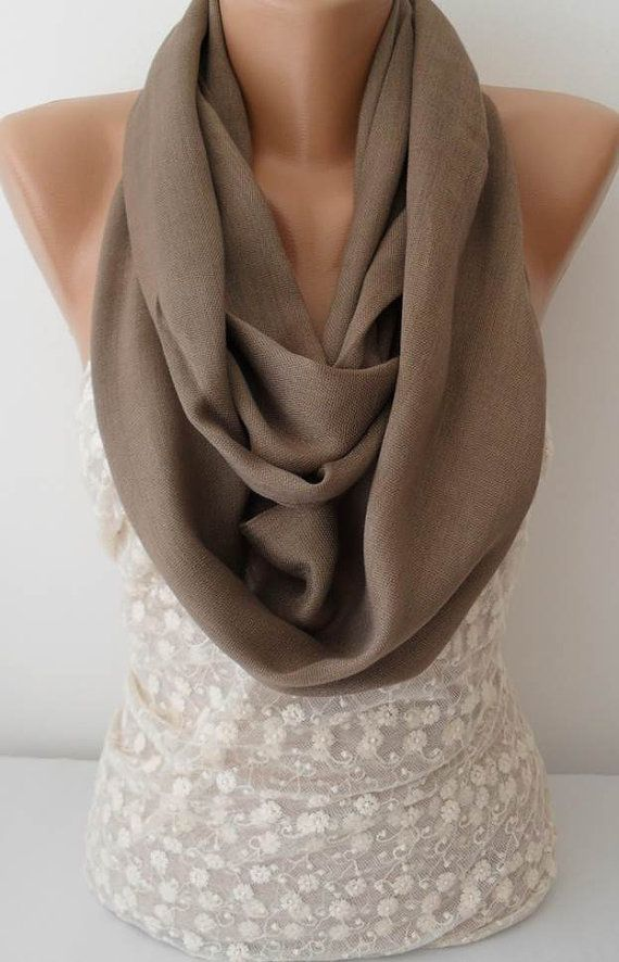 ON SALE Light Brown Scarf Infinity Scarf by JasmineAccessory, $9.90