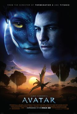 """On the upper half of the poster are the faces of a man and a female blue alien with yellow eyes, with a giant planet and a moon in the background and the text at the top: """"From the director of Terminator 2 and Titanic"""". Below is a dragon-like animal flying across a landscape with floating mountains at sunset; helicopter-like aircraft are seen in the distant background. The title """"James Cameron's Avatar"""", film credits and the release date appear at the bottom"""
