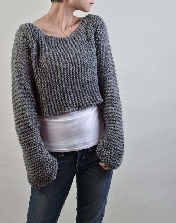Hand knit eco cotton sweater Little cover up top in