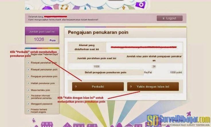 Menu untuk membatalkan penukaran poin Ann-Kate Indonesia | SurveiDibayar.com