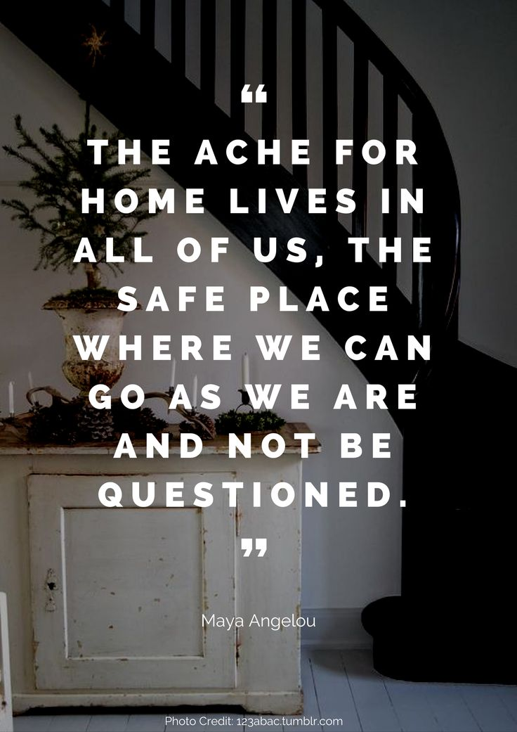 The ache for home lives in all of us, the safe place where we can go as we are and not be questioned. – Maya Angelou Read more beautiful quotes about the home here: https://nyde.co.uk/blog/quotes-about-home/