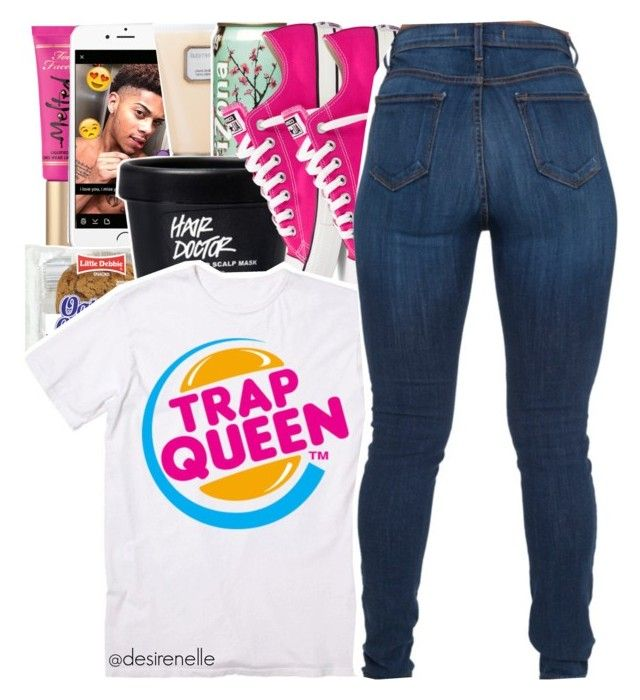 """""""Trap Queen x Fetty Wap"""" by desirenelle ❤ liked on Polyvore featuring Too Faced Cosmetics, Laura Mercier and Converse"""