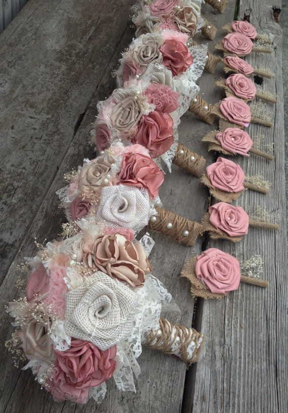 Shabby Chic Blush Pink and Champagne silk with Ivory Burlap Wedding Bouquets (listing is for one bridal bouquet)