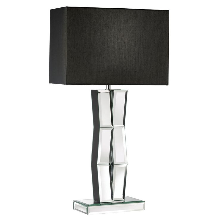5110BK Mirrored Table Lamp With Black Oblong Faux Silk Shade From Dushka Ltd London
