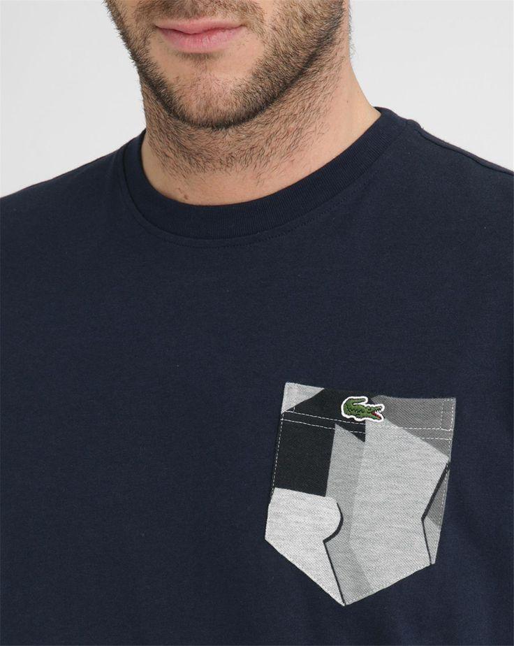 Navy Round-Neck Contrasting Pockets T-Shirt - LACOSTE LIVE - T-shirts Col Rond LACOSTE LIVE voor mannen, Meer dan 250 merken te ontdekken - Geniet van de levering en de terugkeer 30 dagen gratis