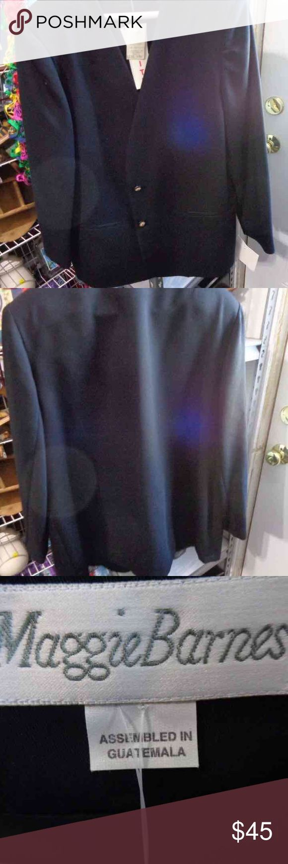 New Ladies Black Blazers Button Sleeves New Size 18W Ladies Black Blazers Button Long Sleeves Career by Maggie Barnes Nice two button blazer. This is a great bargain these usually cost 70 plus! Maggie Barnes Jackets & Coats Blazers