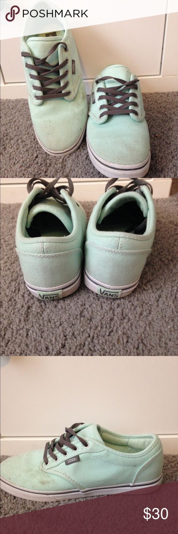 Mint Green Vans Super cute mint green vans. Lightly worn, some dirt on the toe, but they clean up really well with a damp cloth and could probably be thrown in the washing machine and come out good as new! Vans Shoes