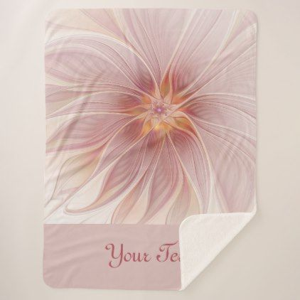 #Pink Floral Dream Abstract Modern Flower Text Sherpa Blanket - #flower gifts floral flowers diy