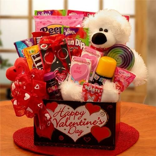 Beary Huggables Kids Valentine Gift Basket - Really cute gift basket for Valentines Day!