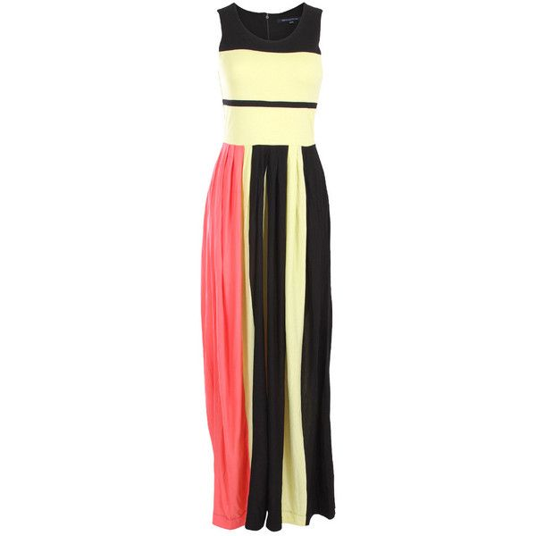 French Connection Medina Stripe Colour Block Maxi Dress. 100% Viscose. Fantastic On Trend Colour Blocked Panelling. Crew Neckline with Concealed Back Zip Faste…